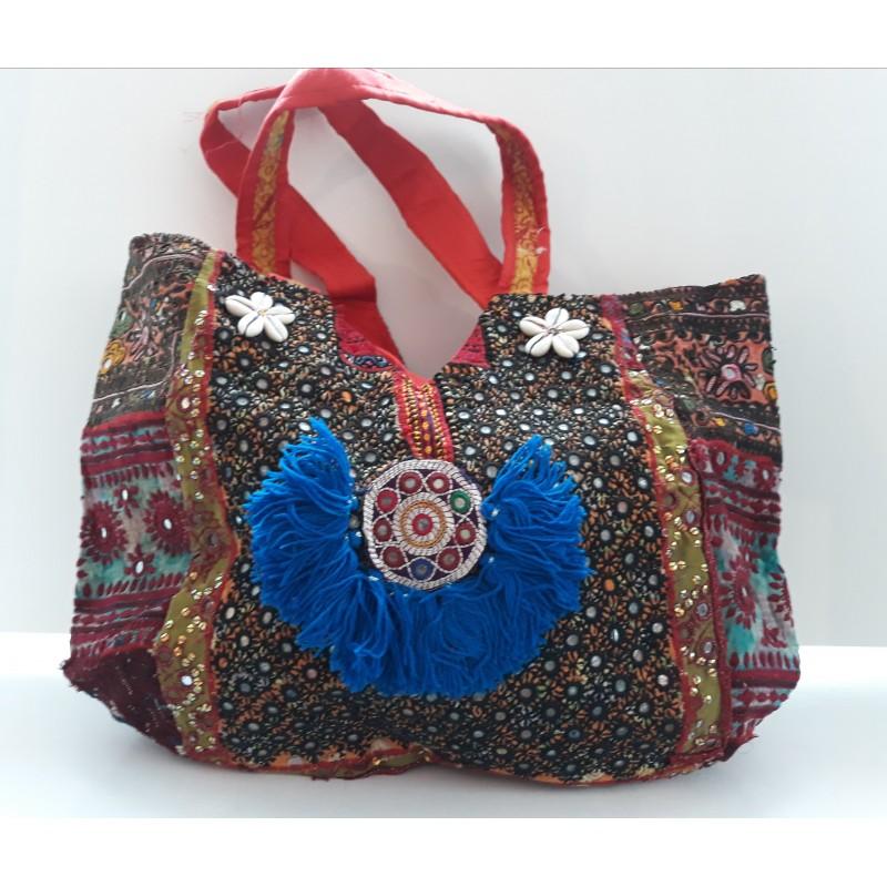 Gypsy Schulter Tasche - handgefertigt lila bordeaux