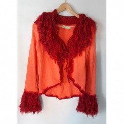 Cardigan Bohemian Style Farbe orange rot